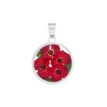 Red Mexican Flowers Round Baroque Small Pendant