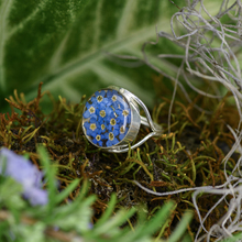 Blue Mexican Flowers Round  Ring