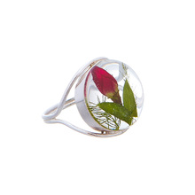 Single Rose Mexican Flowers Round Ring Size-6
