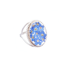 Blue Mexican Flowers Flowers Oval Baroque Ring