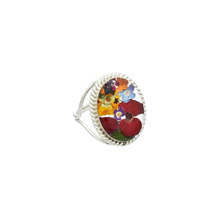 Garden Oval Baroque Mexican Flowers Ring - Size 7