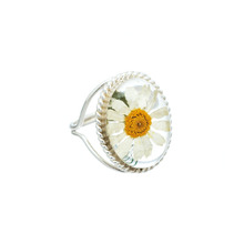 White Mexican Flowers Oval Baroque Ring