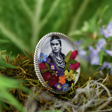Frida Kahlo Black and White Mexican Flowers Large Baroque Oval Ring - Adjustable