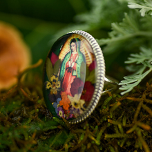 Green Virgin of Guadalupe Mexican Flowers Baroque Large Ring - Adjustable