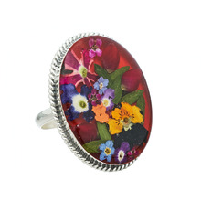 Red Oval Mexican Flowers Baroque Large Ring - Adjustable