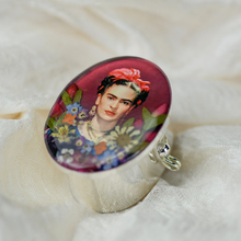 Frida Kahlo Mexican Flowers Red Bow Large Pill Box