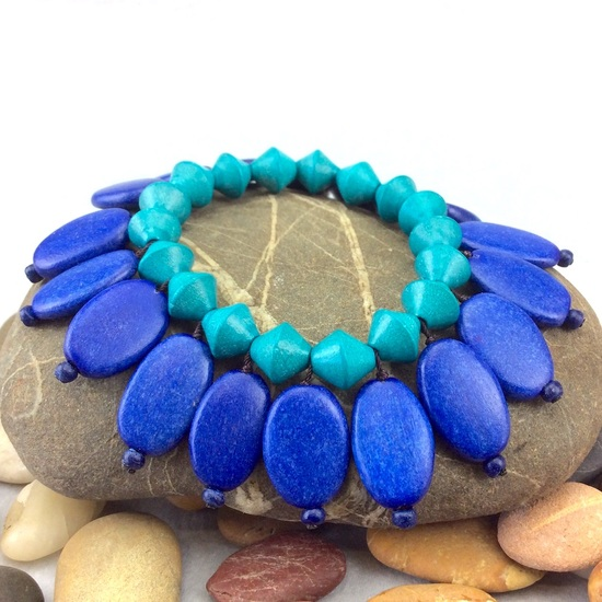 Electric Blue Turquoise Ovalitos Elastic Wooden Bracelet