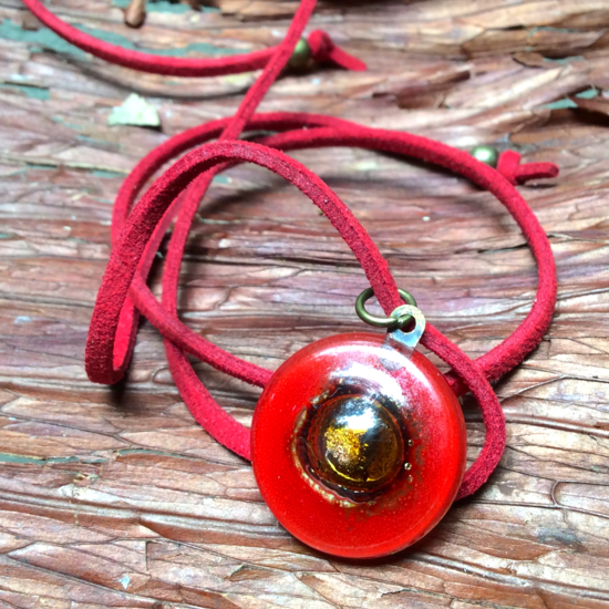 Red Bronze Glass Fusion Choker