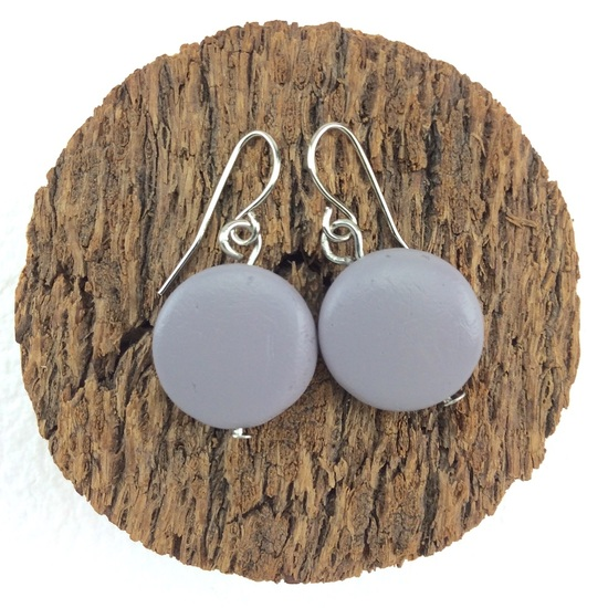 Shady Grey Smarties Coconut Shell Hook Earrings