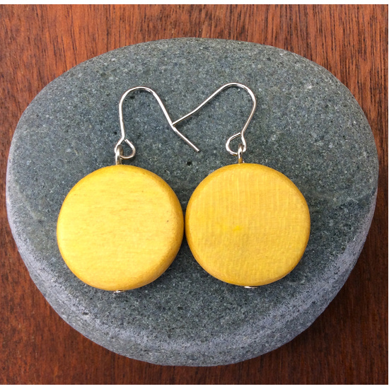 Yellow Papaya Lucinda  Wooden Disc Hook Earrings