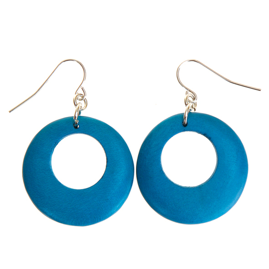 Turquoise Round Cut Out Wooden Earrings