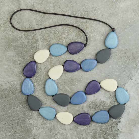 Riviera Blues Flat Drop Long Wooden Necklace