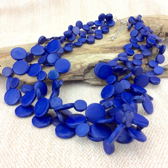 Electric Blue Smarties 3 Strand Coconut Shell Necklace