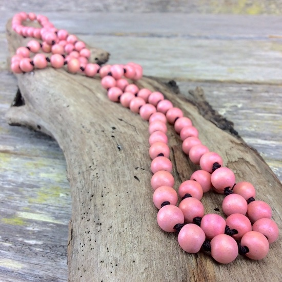 Blush Pink Single Lady Long Wooden Necklace