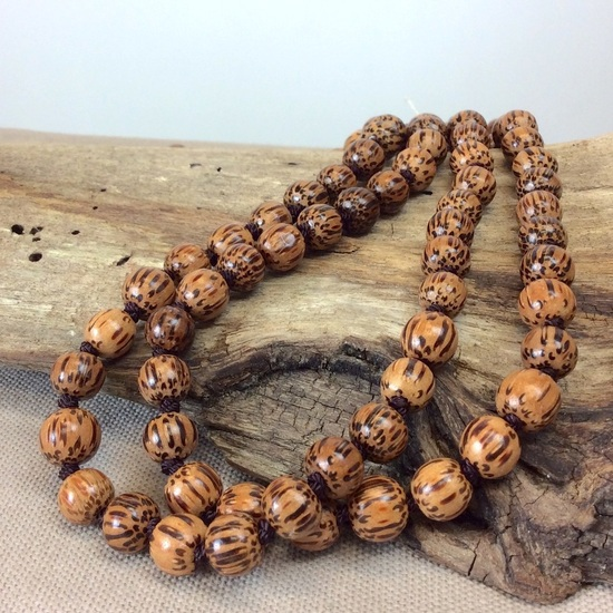 Natural Palmwood Single Lady Long Necklace