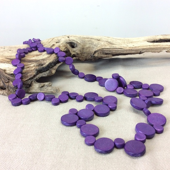 Wild Berry Graduated Wooden Smarties Long Necklace