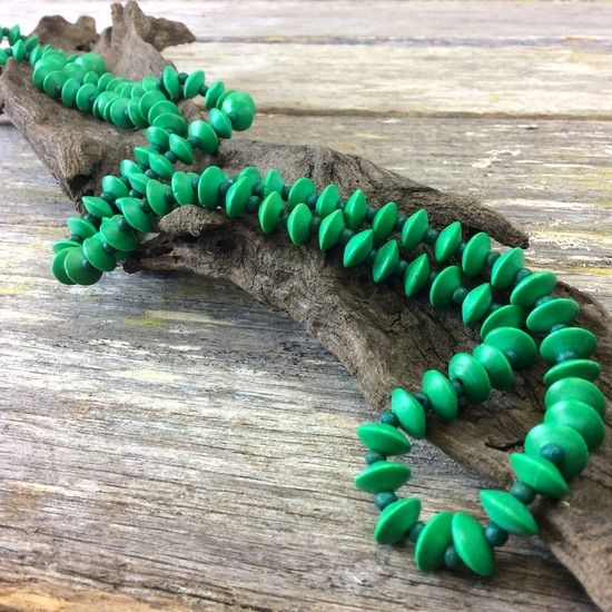 Mint Green Journey Beads Long Wooden Necklace