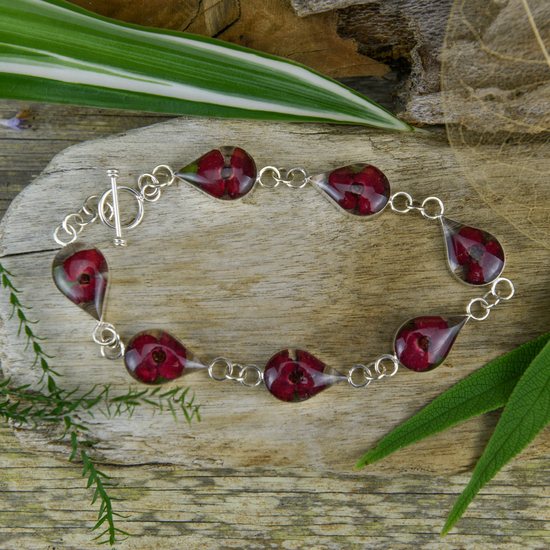 Red Mexican Flowers Drop Bracelet