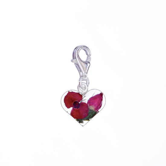 Red Mexican Flowers Heart Charm with Clasp