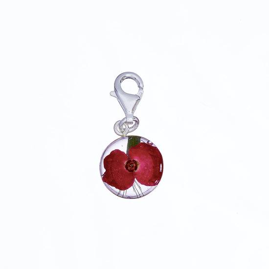Red Mexican Flowers Round Charm with Clasp