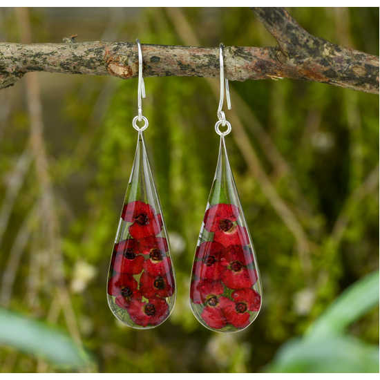 Red Mexican Flowers Large Pendulum Earrings