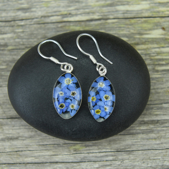 Blue Mexican Flowers Seed Small Hook Earrings