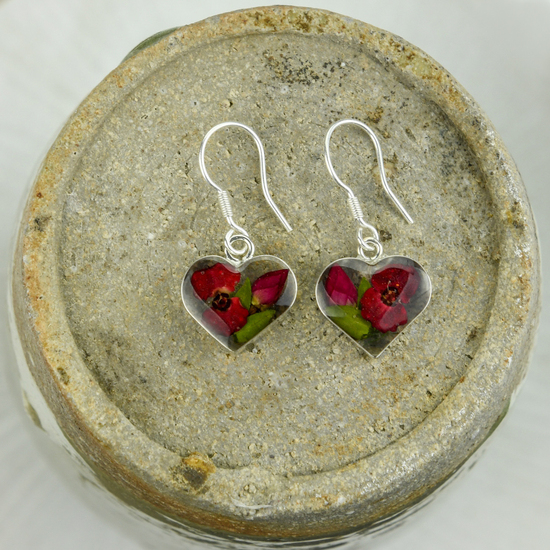 Red Mexican Flowers Heart Small Hook Earrings