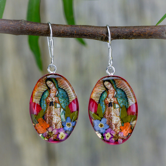 Virgin of Guadalupe Mexican Flowers Hook Earrings, Medium - Assorted