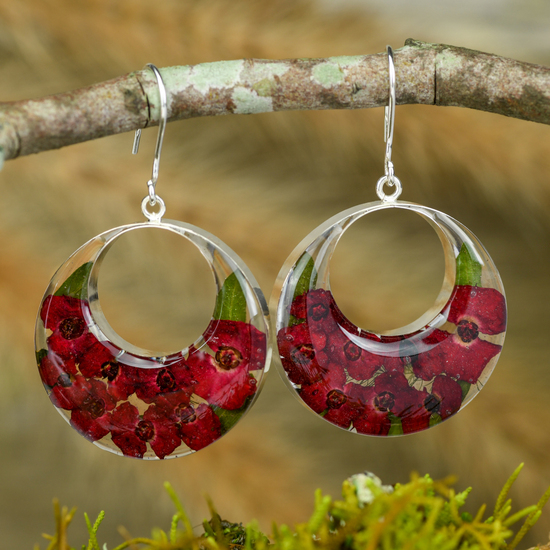 Red Mexican Flowers Round Cut Out Hook Earrings