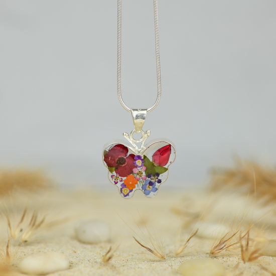 Garden Mexican Flowers Small Butterfly Necklace