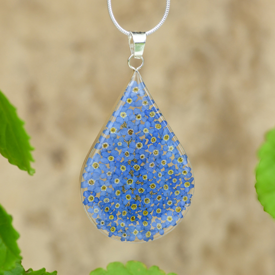 Blue Mexican Flowers Large Drop Necklace