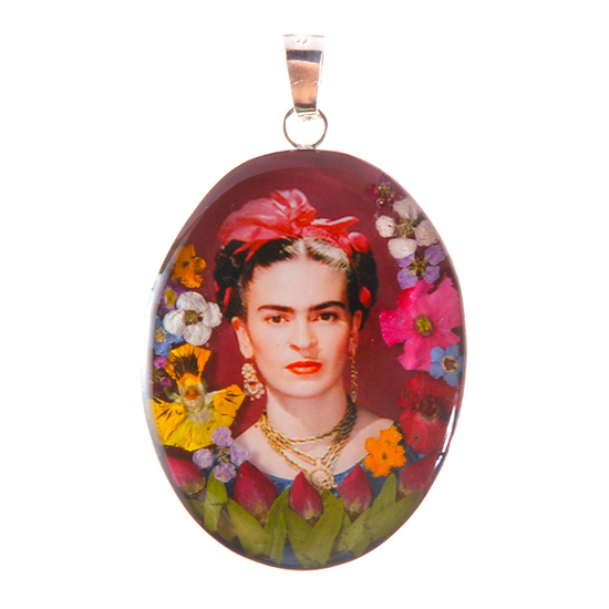 Frida Kahlo Mexican Flowers Red Bow Medium Pendant
