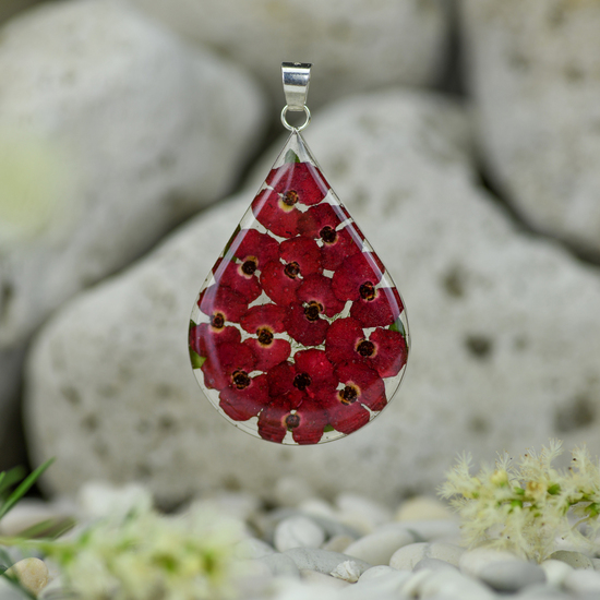 Red Mexican Flowers Large Drop Pendant