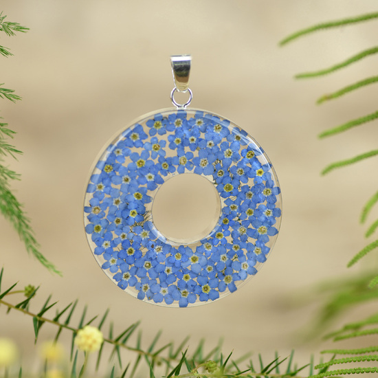 Blue Round Mexican Flowers Large Donut Pendant