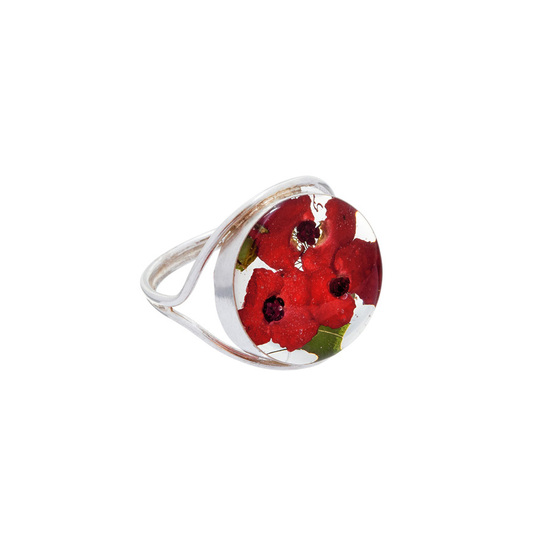 Red Mexican Flowers Round Ring Size - 9