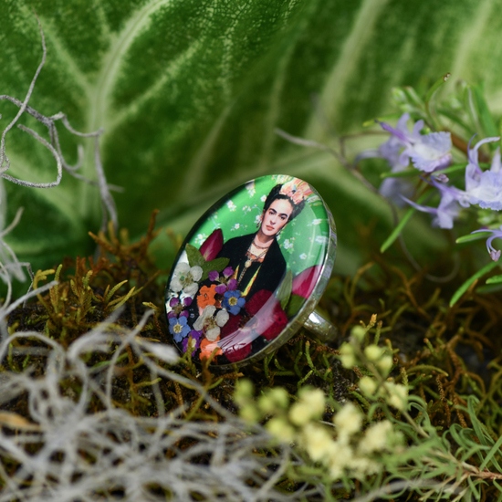 Frida Kahlo Mexican Flowers Green Ring - Adjustable