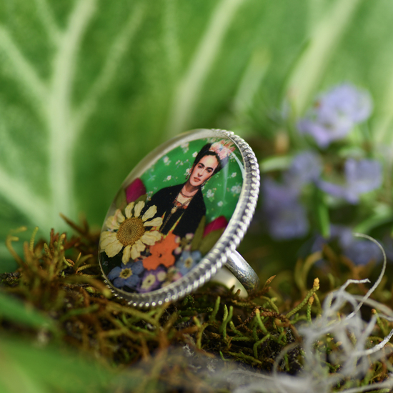 Green Frida Kahlo Mexican Flowers Baroque Large Ring - Adjustable