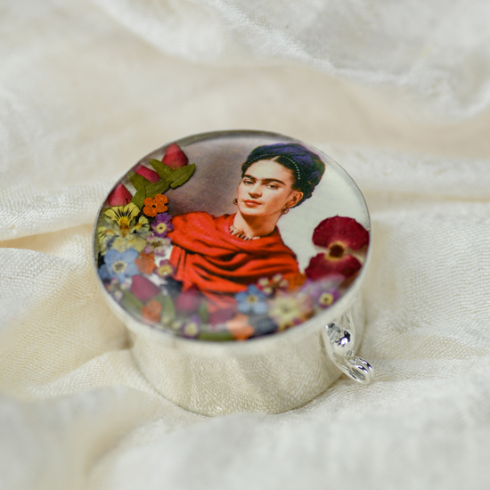 Frida Kahlo Mexican Flowers Orange Scarf Lage Pill Box